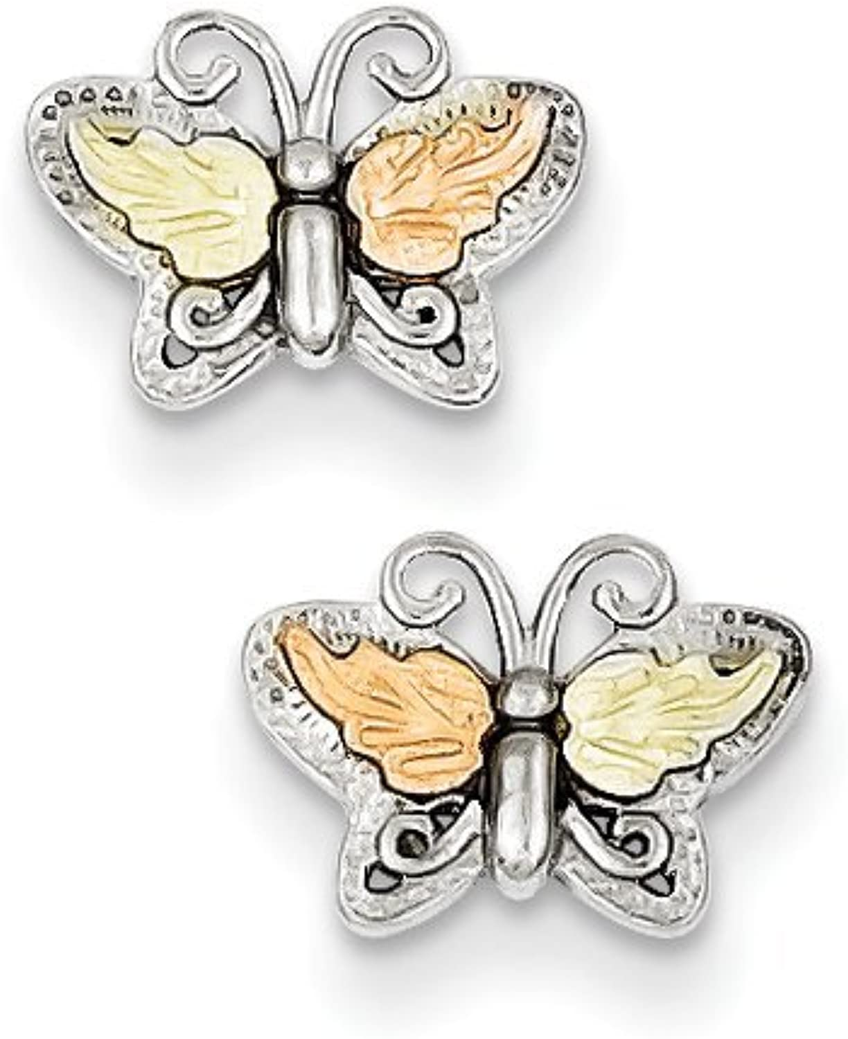 gold and Watches Sterling Silver & 12K Butterfly Post Earrings