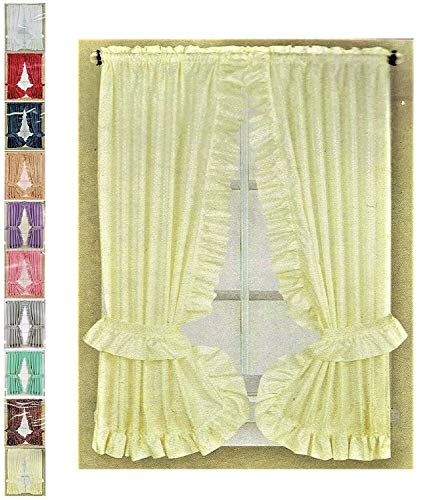 Better Home Ruffled Fabric Window Curtain Set, Mosaic - 2 Tie Backs - Adhesive Hooks (Beige)