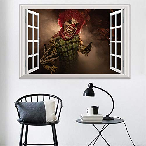 Keliour Halloween Wall Stickers Halloween Demon Clown Window Stickers 3D Stereo Wall Decals for Living Room (Color : A, Size : One size)