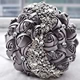 <span class='highlight'><span class='highlight'>Dongdexiu</span></span> Garden Folwers Wedding Holding Flowers Bridal Bouquet Accessories Bridesmaid Rhinestone Party Wedding Decoration Supplies(Pink) (Color : Grey)