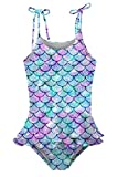 Little Girls Swimsuit 6-8 Years Old One Piece Bathing Suit Quick Drying Mermaid Scales Ruffles Swimwear