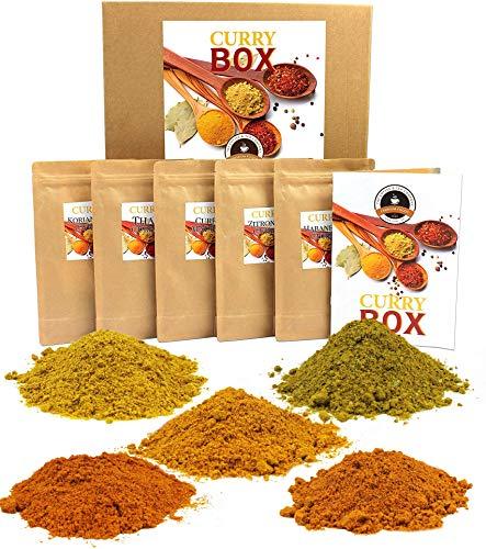 """C&T """"Curry Box"""" Curry Gewürzmischung   5 x 100 g indische Curries: Thai, Habanero, Madras, Zitrone & Koriander + Rezepte   100% natürliches Aroma + Recycling Geschenk Karton"""