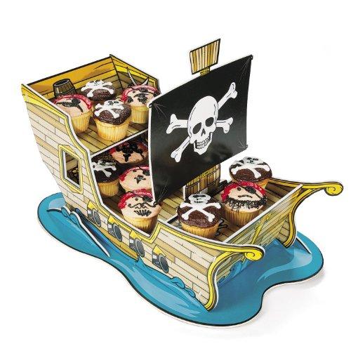 cama24com Cup Cake Brownie Piratenschiff für Piratenparty oder Geburtstag mit Palandi® Sticker