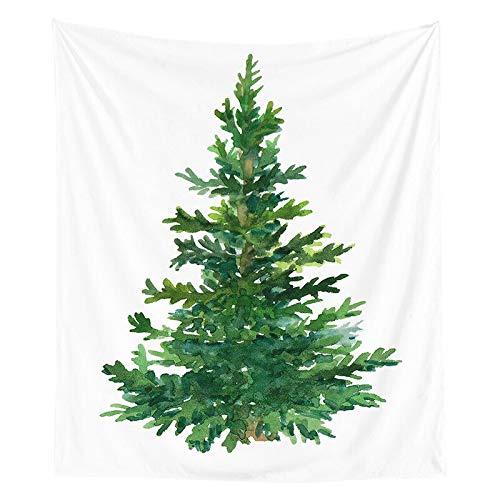 Tapiz de navidad pintura de acuarela impresión de árboles de navidad tela colgante de interior decoración de la pared tela de fondo tela a19 130x150cm