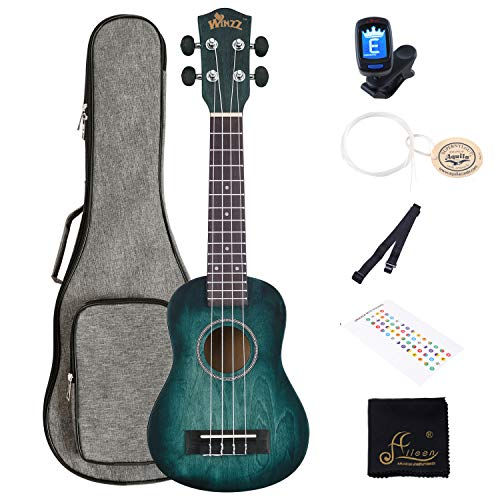 WINZZ 21 Inches Soprano Ukulele Vintage Hawaiian with Bag, Tuner, Strap, Extra Strings, Fingerboard Sticker, Dark Cyan