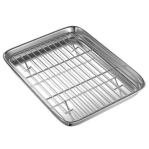 Lopbinte 9 Inch Toaster Oven Tray and Rack Set, Small Steel Baking Pan with Cooling Rack,Dishwasher Safe Baking Sheet