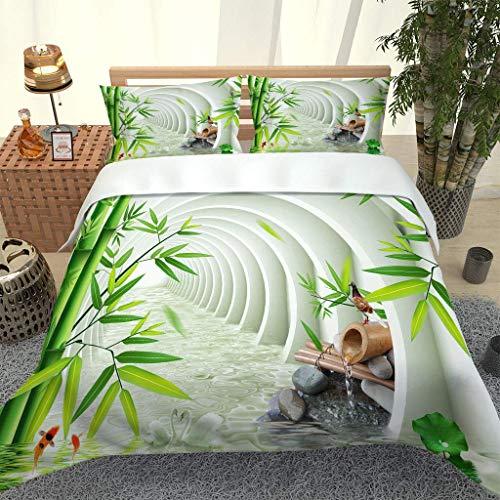 GuoDamei Juego de Fundas Edredón 135 cm*200 cm de Microfibra Muy Suave Transpirable Pasaje de bambú y Blanco Juego de Ropa de Cama con 1 Funda de Almohada 50 cm*75 cm