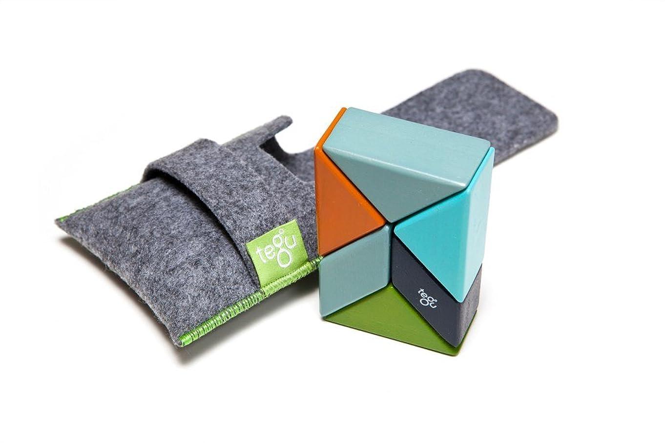 6 Piece Tegu Pocket Pouch Prism Magnetic Wooden Block Set, Nelson