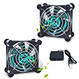 Computer Fan Cabinet Fan Dual 80mm Quiet USB Cooling Fan DC 5v brushless Router Cooler for Receiver Projector Laptops AV Cabinets Cooling