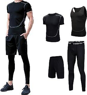مجموعة ملابس رياضية سريعة الجفاف للرجال مقاس L مكونة من 4 قطع، مناسبة لارتدائها مع قميص وسروال ضاغط، بلون اسود