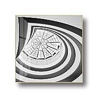 YIBOKANG インスライトラグジュアリークリスタル磁器絵画静かな時計リビングルームベッドルームホテルデコレーションクォーツ時計12/14インチメタルスクエアボーダーイノベーションデザインウォッチ (Color : 3, サイズ : 30CM)