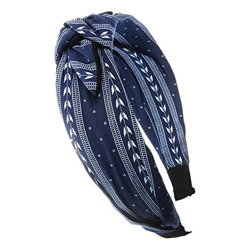 axy HR33 Haarreif Serie 33 Hair Band mit Schleife -Vintage-Wunderschön Stirnband (Motiv 7 - Blau)