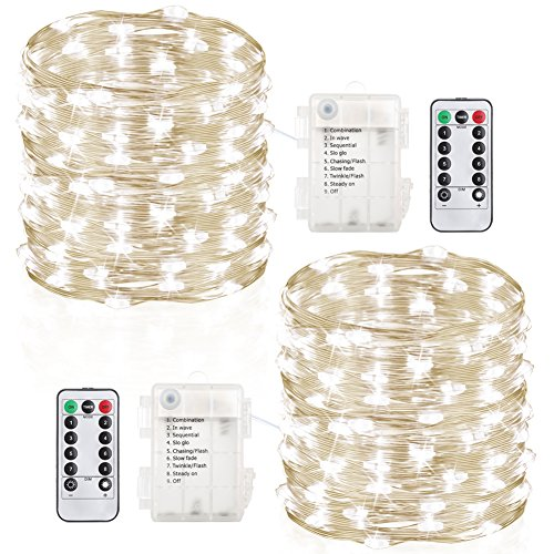 GDEALER 2 Pack 33 Feet 100 Led Fairy Lights Battery Operated with Remote Control Timer Waterproof Copper Wire Twinkle String Lights for Bedroom Indoor Outdoor Wedding Dorm Decor Cool White