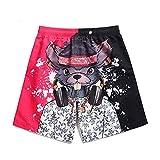 NgMik Pantalones Cortos de Secado rápido Impreso DJ Diente Ardilla Pareja Mar Alquiler de Vacaciones (Color : Rose Red, Size : M)