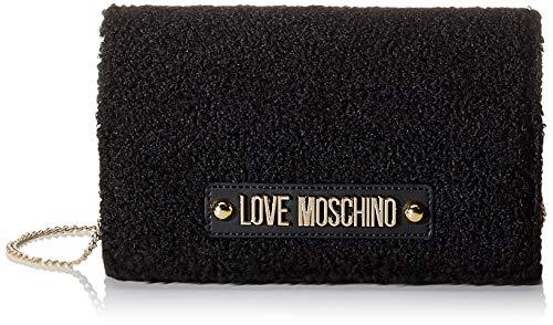Love Moschino Borsa Shearling, Pochette da giorno Donna, Nero (Nero),...