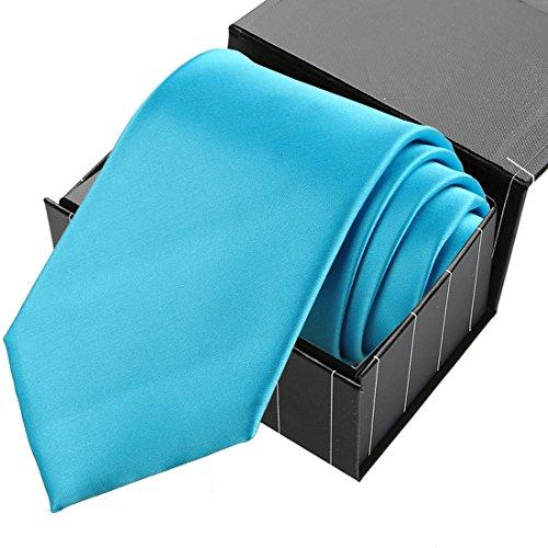 KissTies Ice Blue Solid Satin Tie Necktie Wedding Ties + Gift Box