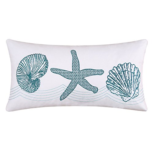 C&F Home Cora Blue Coastal Tropical Beach House Sea Life Shells Starfish Handcrafted Cotton Embroidered Pillow 12 x 24 Blue