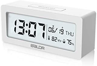 BALDR Compact Digital Alarm Clock with Ultra HD LCD Screen Date & Time Display, Bedside Table Travel Clock, Monitor Temperature Humidity, Large Light Feature Battery Operated (White)
