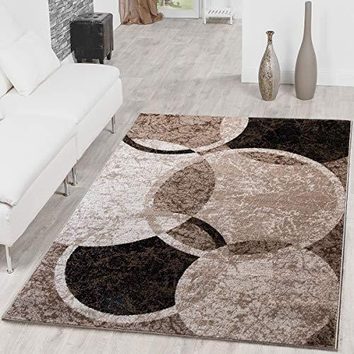 Teppich Kreis Design Modern Wohnzimmerteppich Braun Beige Schwarz Meliert, Größe:80x150 cm