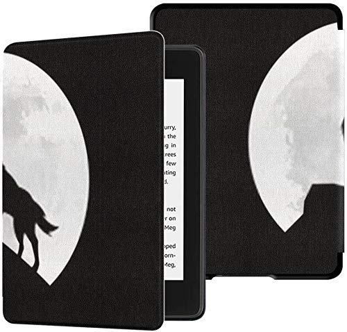 Nuova custodia in tessuto Kindle Paperwhite resistente all acqua (decima generazione, versione 2018), custodia per tablet Silhouette Wolf Howling Moon Night Vector
