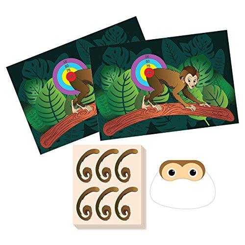 Pin The Tail on the Monkey Geburtstagsspiel – Dschungel-Themen-Partyzubehör, Zoo-Party-Gastgeschenke, Spaß für alle Altersgruppen, 2 Spielposter, 1 Augenbindemaske, 5 Bögen, 30 Aufkleber für Schwanz.