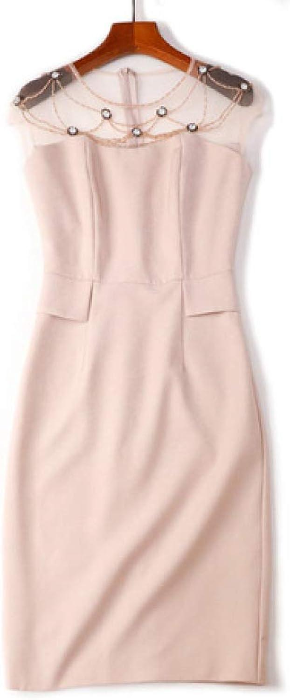 ZENWEN ShortSleeved Vest Bag Hip Dress 2019 Summer New Beaded Mesh Skirt HighEnd Women's Clothing