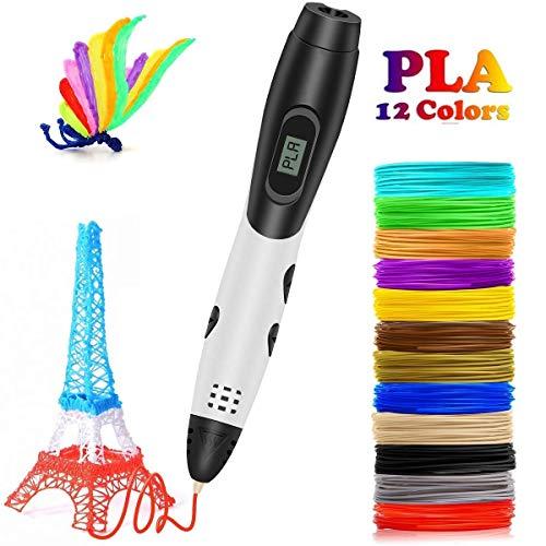 MAMU Drucken Intelligente 3D-Stift, 3D-Feder für Kinder, Spielzeug für Kinder 3D-Pen with12 Farben, wobei Jede Farbe 10 Feet, 3D-Druck-Feder mit LED-Bildschirm ist für Kinder,Weiß