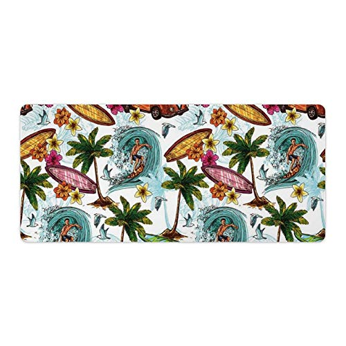 Extended Gaming Mouse Pad with Stitched Edges Large Keyboard Mat Non-Slip Rubber Base Hawaiian Surfer on Wavy Deep Sea Retro Style Palm Trees Flowers Surf Boards Desk Pad for Gamer Office 16x35 Inch