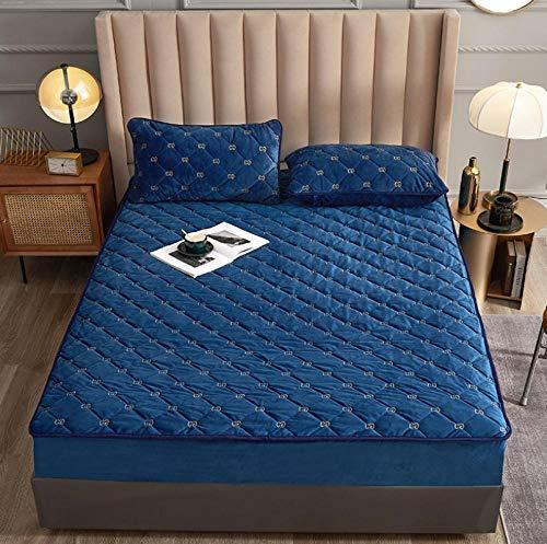 Sábana ajustable acolchada tamaño king con bordado de terciopelo para bebé, sábana ajustable para cama doble suave, cubierta de cama tamaño queentranspirable a prueba de polvo-G_180x200cm + 30cm