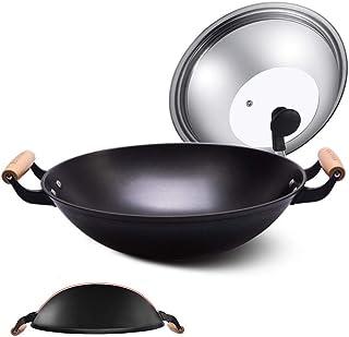 Poêle à Wok en Fonte à l'ancienne Double Oreille en Fonte de Fonte Pot en Fonte Non revêtue cuisinière à gaz Domestique an...