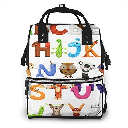 Nappy Sacs à Dos à Langer pour Bébé Sac De Voyage étanche Avec Grand Capacité Alphabet Animal Letters Sac à Dos pour Mères et Soins Des Bébés