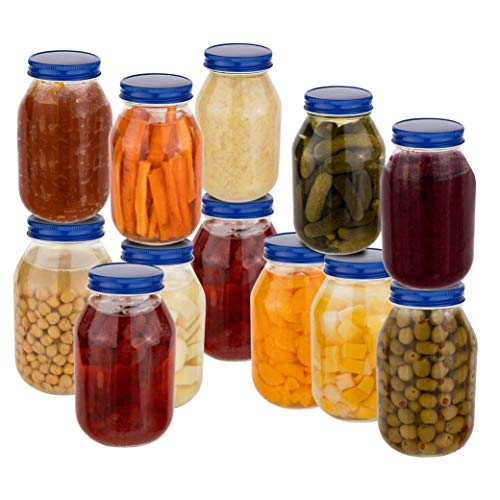 12 Pack of 32oz Mayo Style Glass Mason Jars and Metal Leak Proof Lids for Pickling, Fermenting, Canning and Storing. Containers for Pickles, Kombucha, Preserves, Sauces, Kefir, Fruits