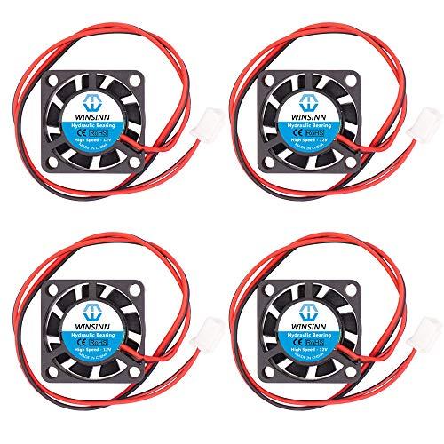 WINSINN Mini ventilador de 25 mm 12 V rodamientos hidráulicos sin escobillas 2507 25 x 7 mm – alta velocidad (paquete de 4 unidades)