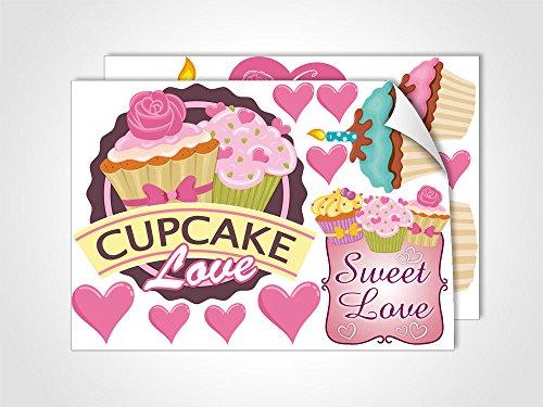 GRAZDesign Wandsticker Deko Aufkleber Muffins, Wandtattoo Cupcake Love, Home Dekoration modern Backen Set in rosa/DIN A4 (2Stück)