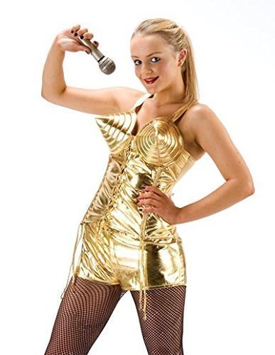 Damen Pop Star berühmt Promi Gold Madonna 1980s Jahre Kostüm Kleid Outfit