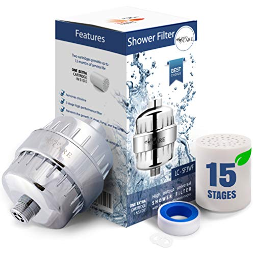 15 Stage Shower Filter - Shower Head Filter - Chlorine Filter - Hard Water Filter - Water Softener - Showerhead Filter - 2 Replaceable Filter Cartridges - Water Filter For Shower Head - Chrome