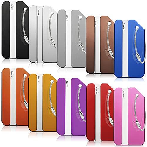 Etiqueta para equipaje, 10 unidades, con placa para dirección, de aluminio, con correa de acero inoxidable y placa de identificación impermeable de PVC para evitar la pérdida de equipaje (8 x 4,2 cm)
