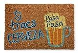 koko doormats felpudos Entrada casa Originales, Fibra de Coco y PVC, Felpudo Exterior SI TRAES Cerveza Pasa Pasa, 40x60x1.5 cm | Alfombra Entrada casa Exterior | Felpudos Divertidos para Puerta