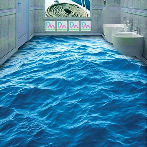 Modernes benutzerdefiniertes 3D-Bodenbild Hd Deep Blue Sea Waves Welligkeit Rutschfester, verdickter, selbstklebender PVC-Hintergrund 3D-Bodenbelag 200x140cm