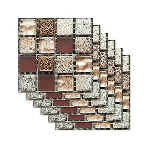 6 stück Fliesenaufkleber Badezimmer,3D Fliesenaufkleber kKüche Fliesen Folie Wand Fliesen Aufkleber,Fliesen Folie Mosaik Fliesensticker,Bad Fliesen Selbstklebend Fliesendekor,20 * 20cm