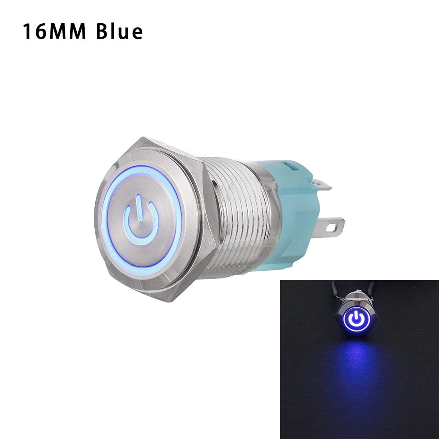 Eadorns Push Button Momentary Switch Useful Metal Durable ON/Off Car LED Power 16/12mm(16mm,16mm)