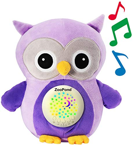 ZooPond - Baby Sound Machine, White Noise Machine Baby, Baby Soother, Crib Soother. Baby Sound Machine for Sleeping, Crib Toys With Music and Lights, Baby Sleep Aid, New Baby Gift. Susher (Purple Owl)