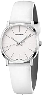 Calvin Klein Posh 32 MM Dial Swiss Made White Leather Strap Watch For Women