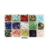 Edelsteinperlen zum Auffädeln, 700 Stück 15 Farben Splitterperlen mit Bohrung zum Basteln Edelstein Perlen Natur Lose Schmucksteine Schmuckperlen für DIY Armband Halskette Schmuck Herstellung