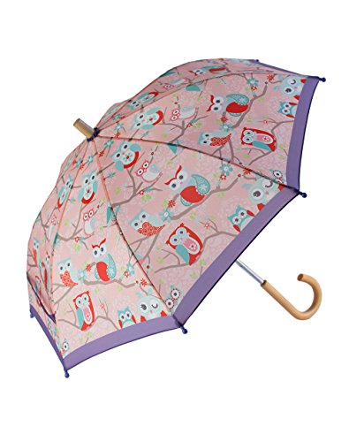 OAKI Double Layer Waterproof Kids Umbrellas with Windproof, UV Protection and C-Shaped Kid's Easy Hold Handle (Perched Owls)