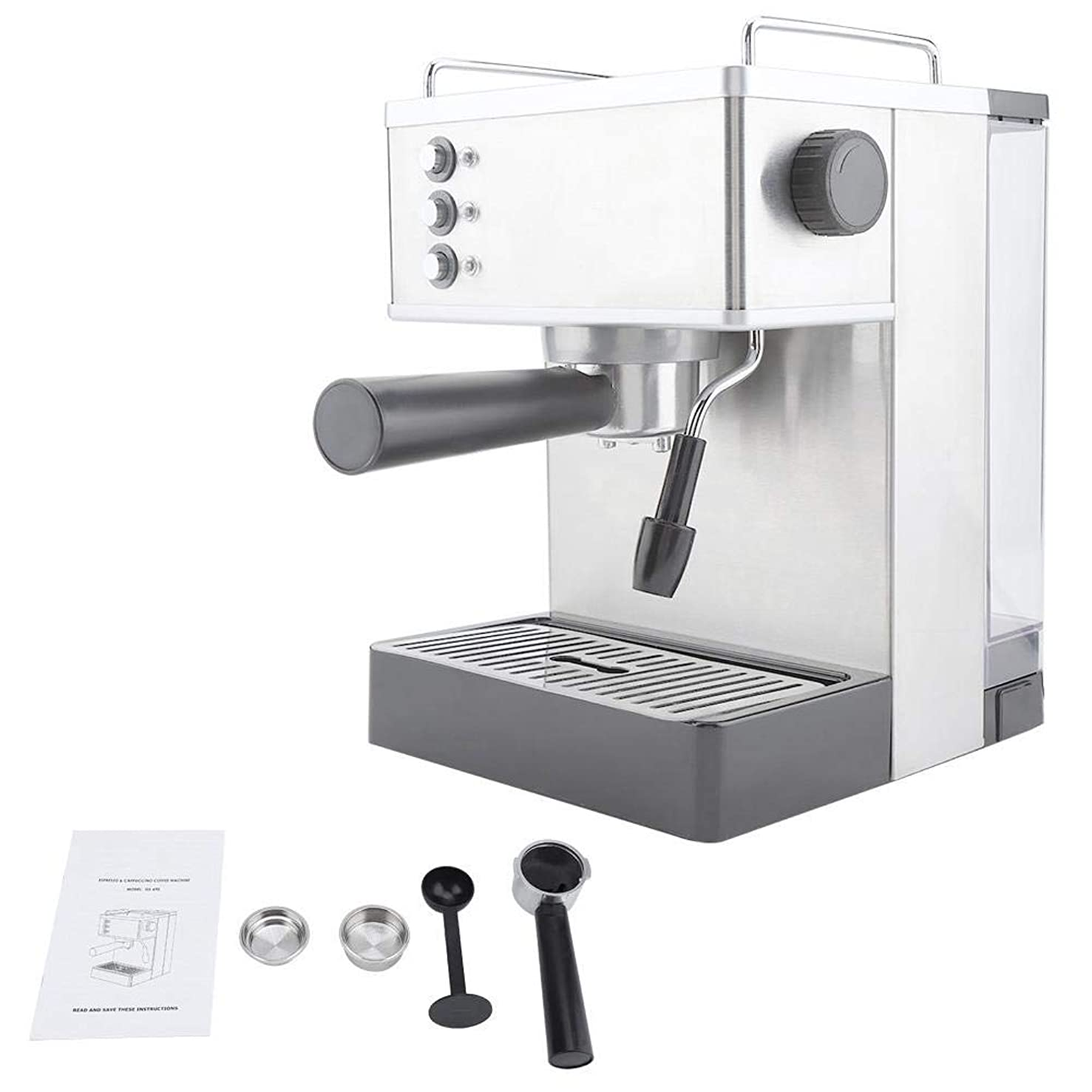 類推小康コンテストコーヒーマシン、ステンレススチールエスプレッソコーヒーマシンコーヒーメーカー高圧イタリアポンプ(US Plug)