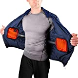 ActionHeat 5V Rechargeable Battery Powered Jacket Coat Heater – Electric Torch Coat Heating System with Built-in Heating Panels for Winter Hiking Hunting Outdoor Walking Motorcycle Riding – Black