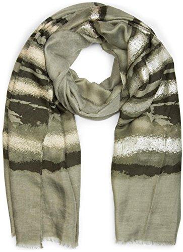 styleBREAKER Schal mit Metallic Streifen Muster und Fransen, Tuch, Damen 01017060, Farbe:Oliv