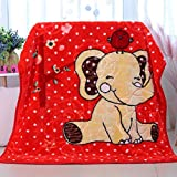 Blanket YKBBA Blanket Double Thickness Children and Newborns Blanket Autumn and Winter Double-Sided Coral Blanket 105cmX135cm redelephant