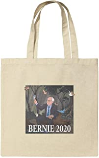 Bernie Sanders 2020 with Birds In A Forest Retro Cartoon Grocery Travel Reusable Tote Bag
